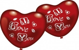 """Luftballons: Rotes Herz, Aufschrift """"I Love You"""", 5 Stück - 1"""