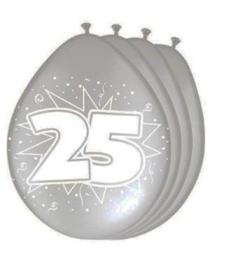 Luftballons: Zahlen-Ballon, 25, silber-metallic, 8er-Pack - 1