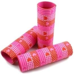 Luftschlange: Herz-Luftschlangen, rot, rosa und weiß, 9 Streifen, 4 m, 3er-Pack - 1