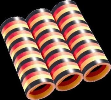Luftschlangen, schwarz-rot-gelb, 4 m, 3er-Pack - 1