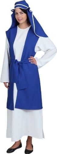 Maria-Kostüm: weißes Kleid, blaue Weste mit Gürtel, blaue Kopfbedeckung - 1
