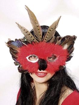 Maske: Federmaske, rot-braun-silber - 1