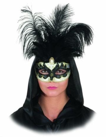 Maske: venezianische Halbmaske mit schwarzen Federn, schwarz-gold - 1