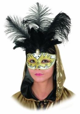 Maske: venezianische Halbmaske mit schwarzen Federn, weiß-gold - 1