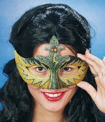 Maske: venezianische Maske Colombina, gold-grün - 1