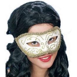 Maske: venezianische Maske Colombina, silber-gold - 1
