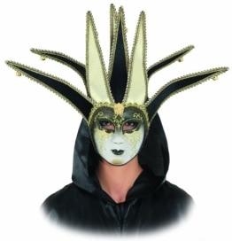 Maske: venezianische Maske, Harlekin, schwarz-gold, mit Glöckchen - 1