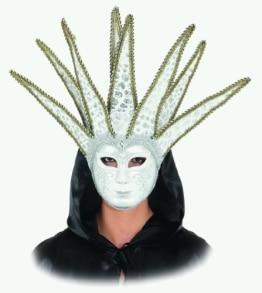 Maske: venezianische Maske, Harlekin, weiß-gold, mit Glöckchen - 1