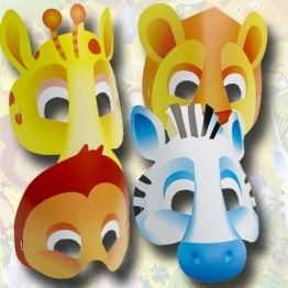 Masken: Party-Masken, Safari-Tiere, 6er-Pack - 1