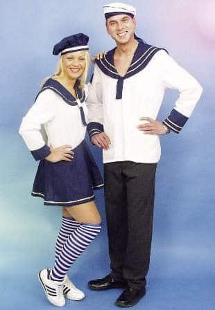 Matrosen-Girl: Kostüm mit Kleid in Blau und Weiß sowie Hut - 1
