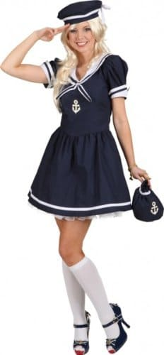 Matrosin-Kostüm: blaues Kleid, blaue Mütze, sexy - 1