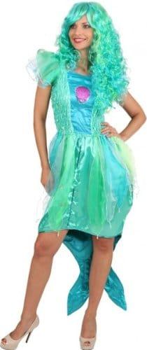 Meerjungfrau-Kleid: Chiffon/Satin, bau-grüne Farbtöne - 1