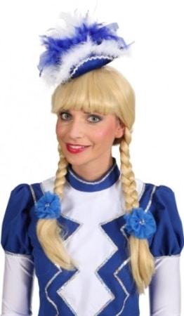 Mini-Hut: Funkenhut, blau-weiß, mit Federschmuck und Boa - 1
