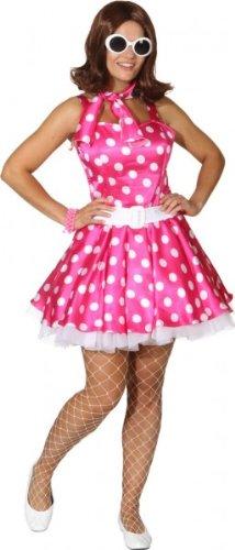 Minikleid mit Petticoat und Gürtel pink und weiß gepunktet - 1