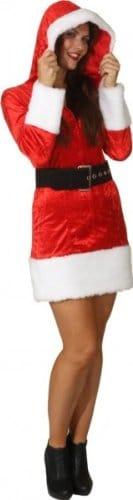 Miss Christmas : Kleid mit Kapuze und Gürtel - 3