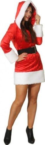 Miss Christmas : Kleid mit Kapuze und Gürtel - 4