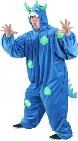 Monster-Kostüm: Overall mit Kapuze, blau, grüne Punkte, verschiedene Größen - 1