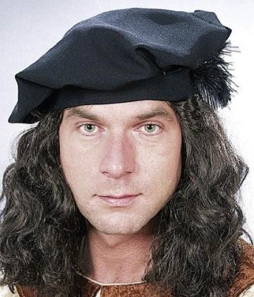 Mütze: Barett mit Haaren, schwarz - 1