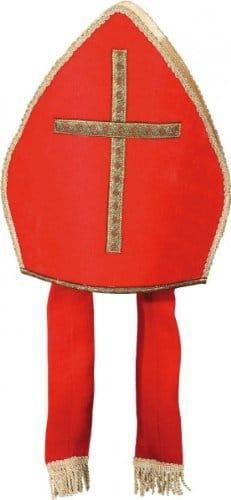 Mütze: Bischofsmütze, rot mit goldenem Kreuz - 1