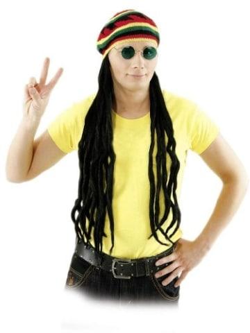 Mütze: bunte Reggae-Mütze mit Rasta-Zöpfen - 1
