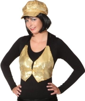 Mütze, gold, mit Pailletten, Kopfweite 58 - 1