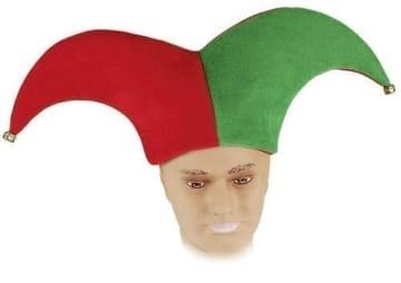 Mütze: Harlekin-Mütze, grün-rot, mit Glöckchen - 1