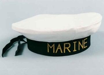 """Mütze: Marine-Mütze, Aufdruck """"Marine"""", weiß und schwarz, Kopfweite 56 und 60 - 2"""