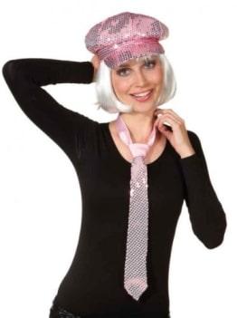 Mütze, rosa, mit Pailletten, Kopfweite 58 - 1