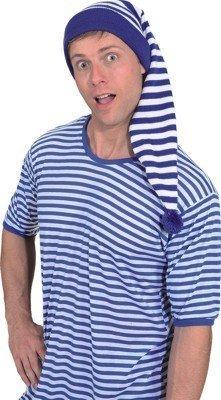 Mütze: Zipfelmütze, blau-weiß geringelt, Einheitsgröße - 1