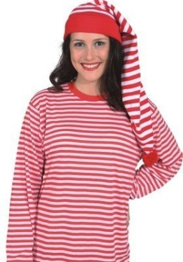 Mütze: Zipfelmütze, rot-weiß geringelt, Einheitsgröße - 1