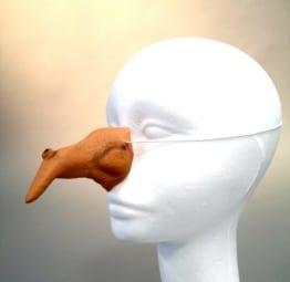 Nase: 1 Hexennase, Weichkunststoff, hautfarben, mit Gummiband - 1