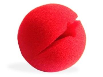 Nase: Clownnase, rot, Schaumgummi, zum Aufstecken - 1