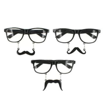 Nerd- Nerd-Brille: Schnauzer-Brille mit Augenbrauen, schwarz - 1
