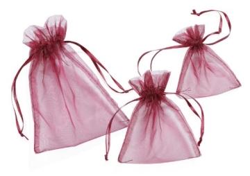 Organza-Säckchen, bordeaux, 13 x 10 cm, 12er-Pack - 1