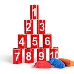 Outdoor-Spielzeug: Dosenwerfen, 6 Dosen, 3 Bälle - 1