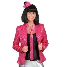 Paillettenjacke pink mit Futterstoff - 1