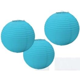 Papierlaterne, hellblau, 24 cm Durchmesser, 3er-Pack - 1