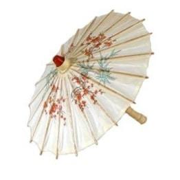 Papierschirm: chinesischer Schirm, Blumenmuster, 60 cm lang, 80 cm Durchmesser - 1