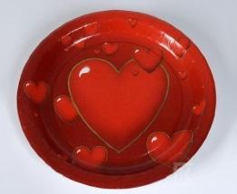 Pappteller: 10er-Pack, rot, Herzen-Dekoration - 1