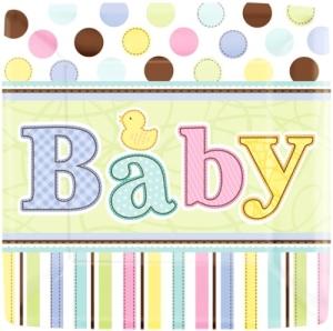 Pappteller, rechteckig, bunt mit Baby-Schriftzug, 18 x 18 cm, 18er-Pack - 2