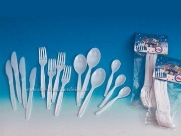 Party-Besteck: Messer, weiß, 16 cm, 10er-Pack - 1