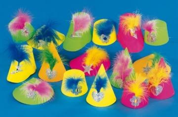 Party-Hütchen, Neonfarben, mini, sortiert, 50er-Karton - 1