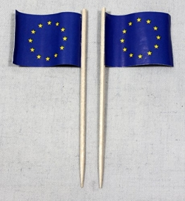 Party-Picker Flagge Europa Europaflagge Papierfähnchen in Profiqualität 50 Stück Beutel Offsetdruck Riesenauswahl aus eigener Herstellung - 1