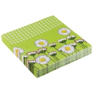 Party-Servietten: Servietten Daisy, Blumenaufdruck, grün, 33 x 33 cm, 20 Stück - 1