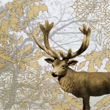 Party-Servietten: Servietten, goldene Blätter, Hirsch, 33 x 33 cm, 20er-Pack - 1