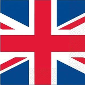 Party-Servietten Union Jack, Großbritannien-Motiv, 16er-Pack, 33 x 33 cm - 1