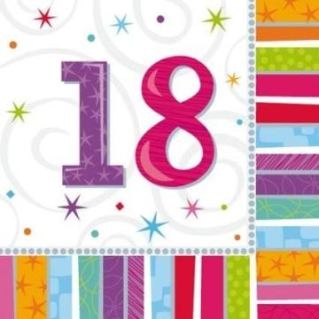 """Party-Servietten: Zahl 18, """"Bunter Geburtstag"""", 33 x 33 cm, 16er-Pack - 1"""