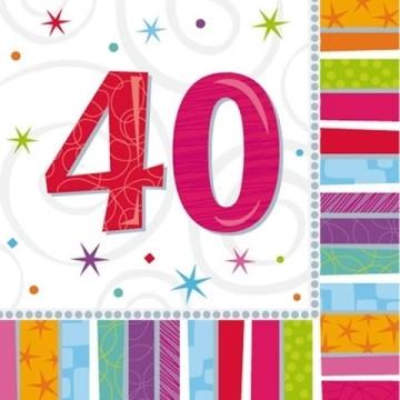 """Party-Servietten: Zahl 40, """"Bunter Geburtstag"""", 33 x 33 cm, 16er-Pack - 2"""