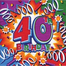 "Party-Servietten: Zahl 40, Motiv ""Birthday Explosion"", 33 x 33 cm, 16er-Pack - 1"