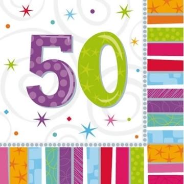 """Party-Servietten: Zahl 50, """"Bunter Geburtstag"""", 33 x 33 cm, 16er-Pack - 2"""